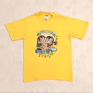 "Vintage ""peace love music"" yellow tee shirt"
